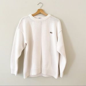 Vtg LACOSTE White Pullover Crew Neck Knit Sweater